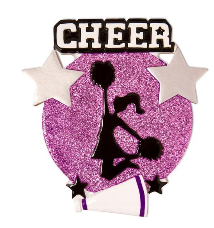 Jumping Cheerleader Silhouette Ornament - Purple