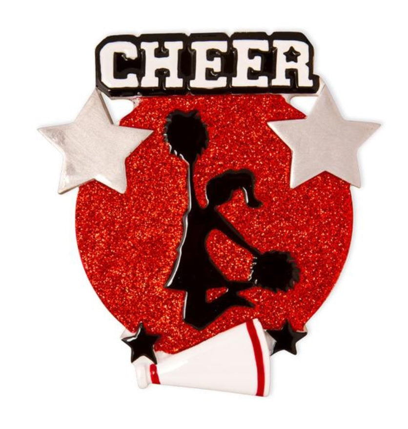 Jumping Cheerleader Silhouette Ornament - Red