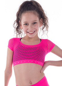 Kids Pink crop top with rhinestone