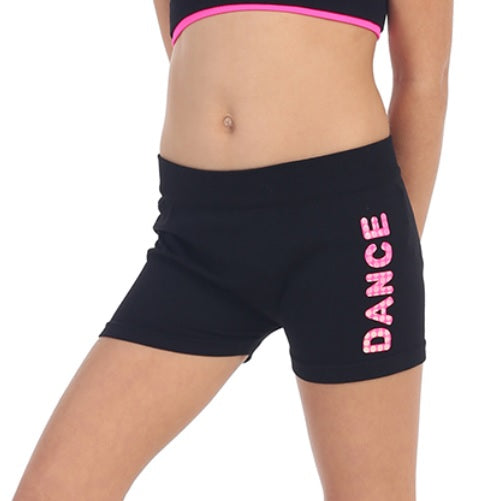 Kids Neon Dance Word Black Shorts