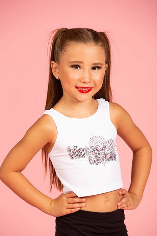 IdanceUcheer Stretch White Logo Crop Top