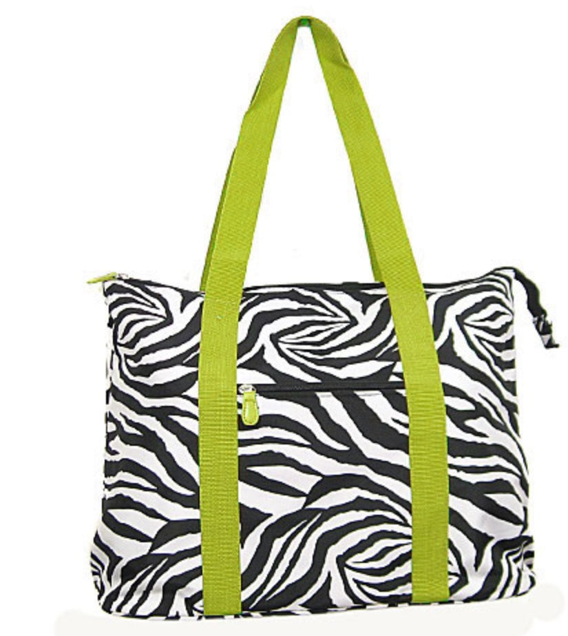 Large Zebra Tote Bag - Lime Green