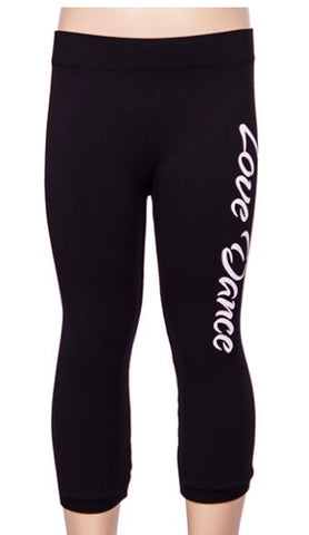 Kids Love Dance Black Capri Legging Pants