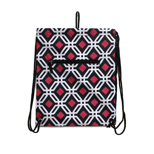 Geometric Sling Bag in Black & Fuchsia
