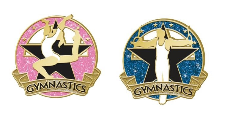 male & female gymnast pin