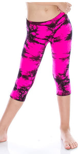 Kids Pink & Black Tie-Dye Capri Leggings