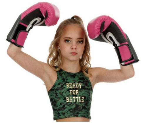 "Youth ""Ready to Battle"" Camo Cropped Tank Top"