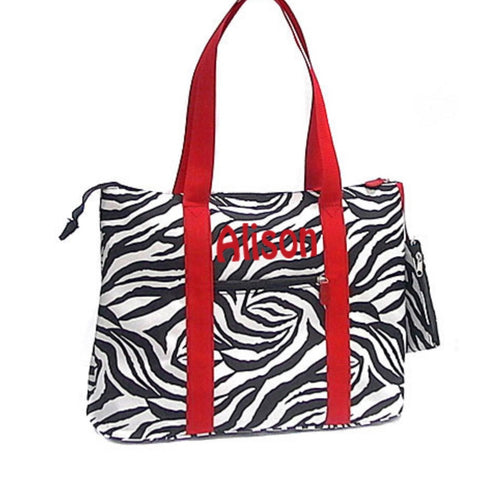Large Zebra Tote Bag - Red