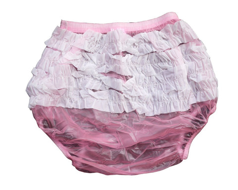 2 pieces Adult Baby Sissy Pink Plastic Pants with White Ruffles - Adult Diapers Delivered Free