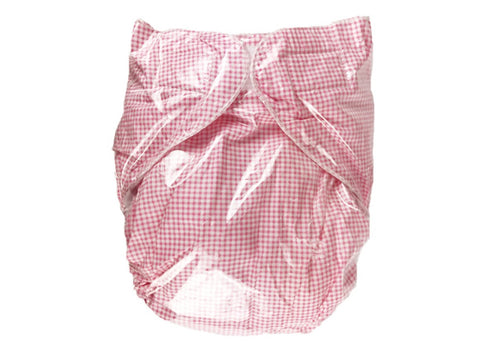 2 Reusable Adult Baby Diapers in Check Red and White - Adult Diapers Delivered Free