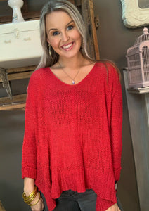 Adora Loose Fit Round Neck Sweater Red
