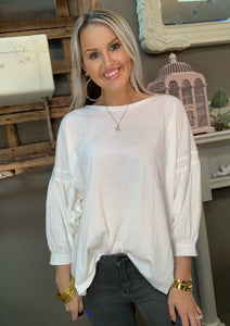 SL- 3/4 Balloon Sleeve Scoop Neck White Top