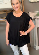 Load image into Gallery viewer, Jodifl Babydoll Ruffle Top Black