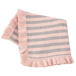 MP Pink and Grey Knit Ruffle Blanket