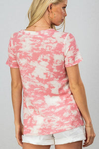 Trendnotes Pink Tie Dye Waffle Knit Top