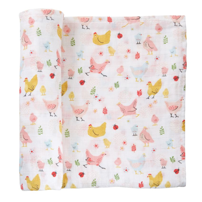Mud Pie Chicken Muslin Swaddle