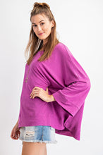 Load image into Gallery viewer, Wide Sleeve Slub Knit Top Faded Rose