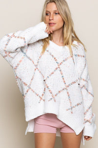 White Rainbow Checked Square Pullover