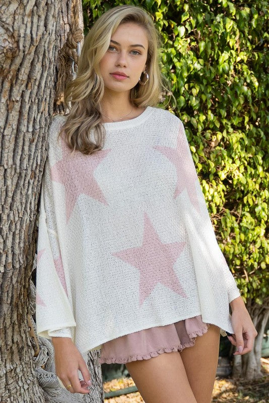 POL White Top Pink Stars