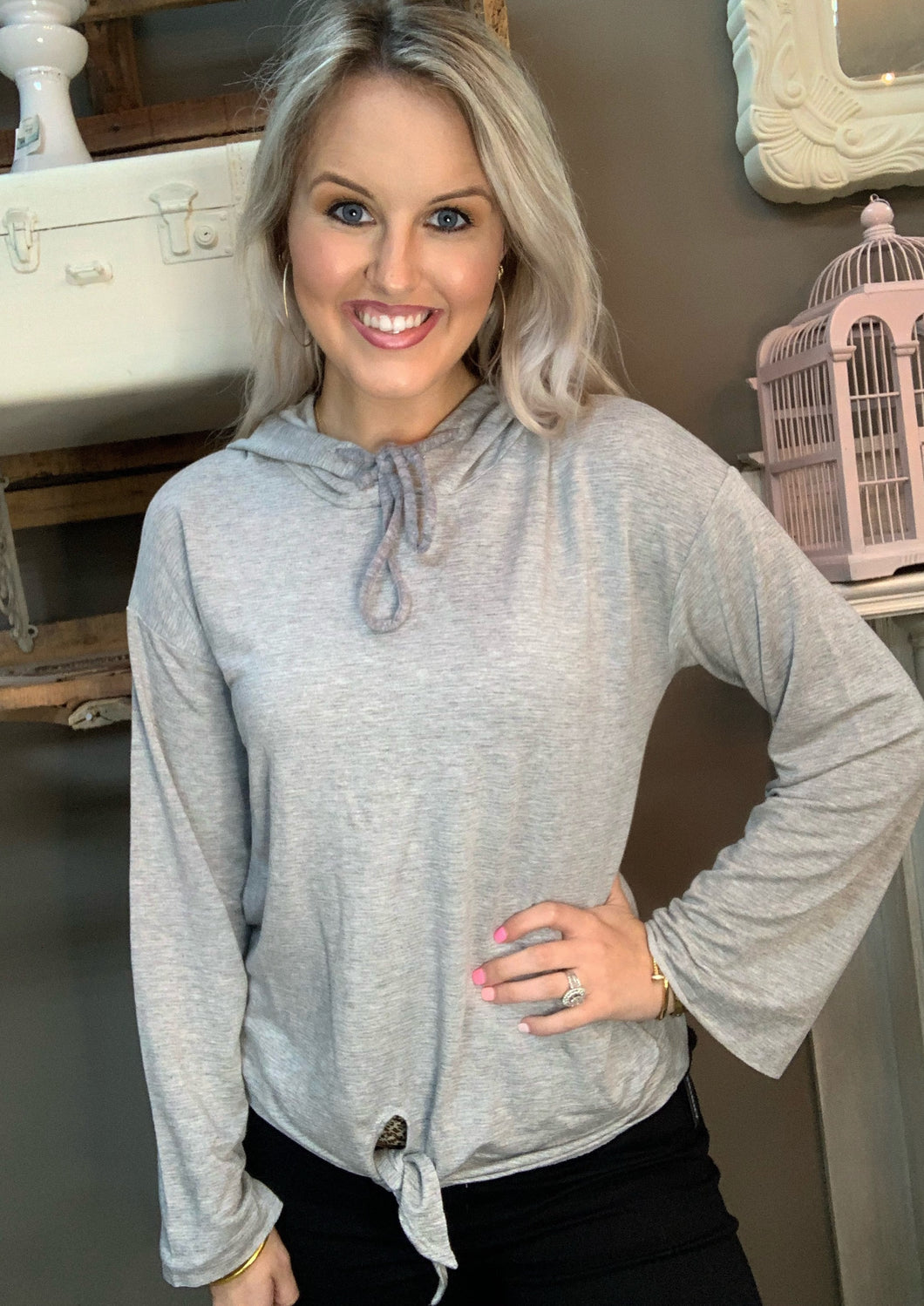 ILP Tie Front Pullover Heather Grey