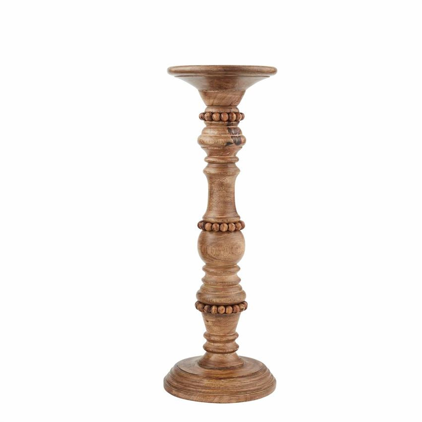 MP Medium Beaded Wood Candlestick