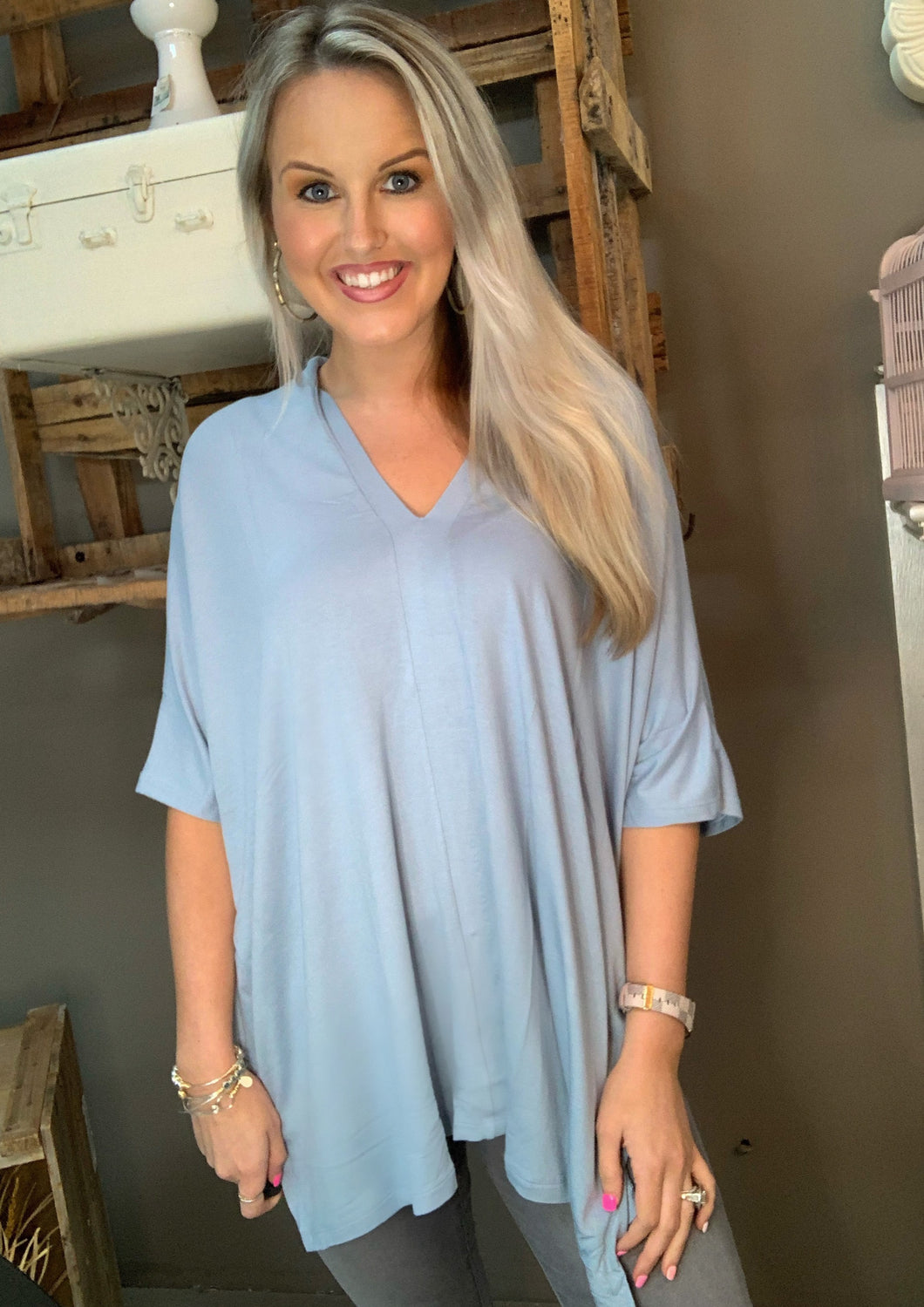 Cherish Oversize Poncho Top Dusty Blue