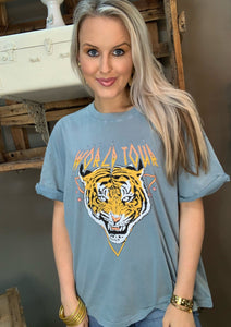 Lt Blue Tiger World Tour Graphic Tee