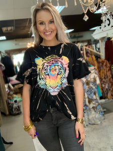 Black Tie Dye Tiger Graphic Tee