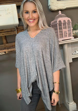 Load image into Gallery viewer, Cherish Heather Gray Poncho Top