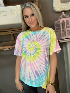 BB Multi Tie Dye Top Lemon Pastel