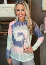 Load image into Gallery viewer, Retro Fashion Gray Tie Dye Long Sleeve Top