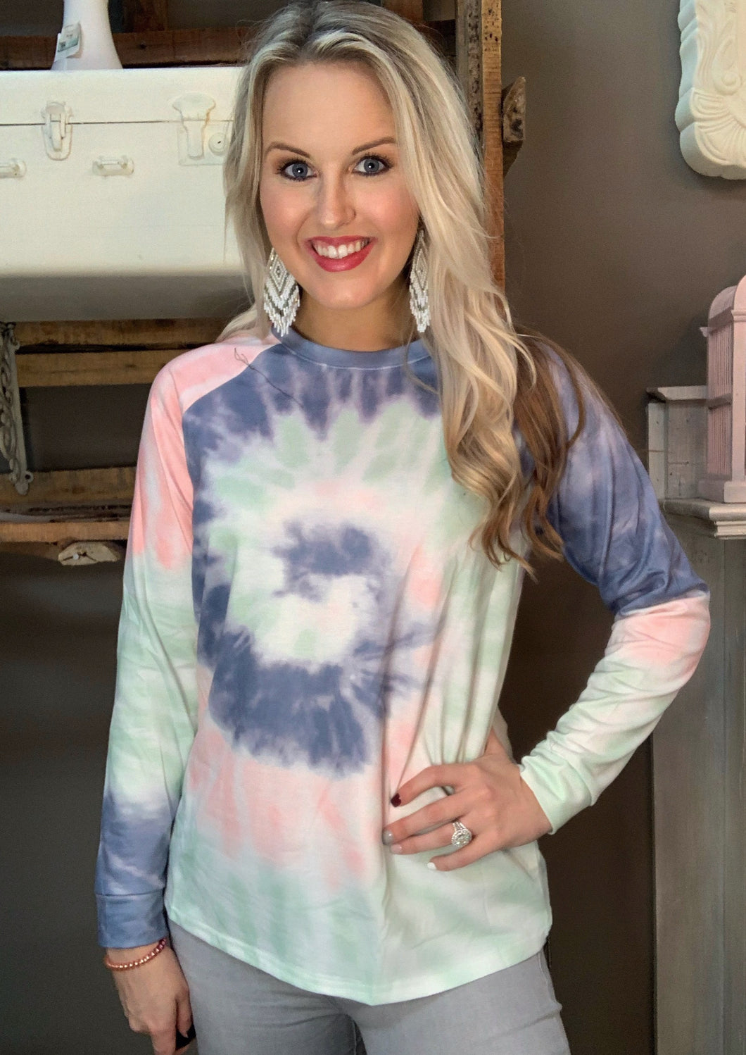 Retro Fashion Gray Tie Dye Long Sleeve Top