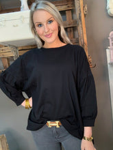 Load image into Gallery viewer, SL- 3/4 Balloon Sleeve Scoop Neck Black Top