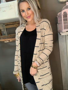Cherish Taupe Stripe Cardigan