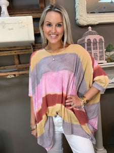 Jodifl Oversized Stripe Gray/Pink Tunic Top