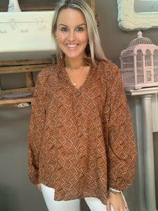 Bucketlist Smocked High Neck Top