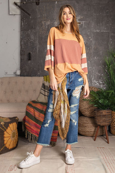 RC- Colorblock Faded Coral Top