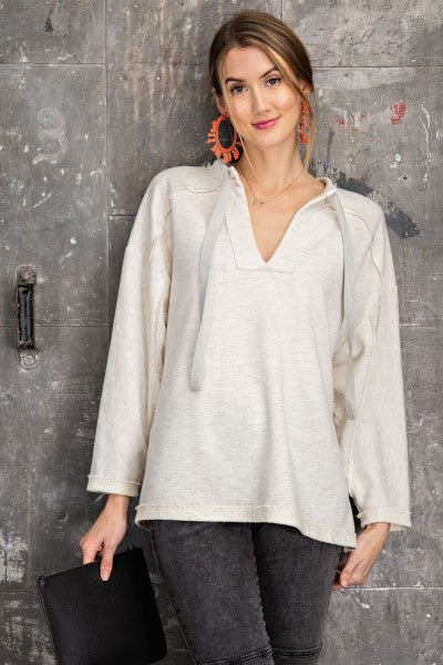 RC- LS Terry Tie Front Top Oatmeal