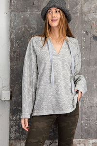 RC- LS Terry Tie Front Top Heather