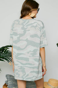 SL- Camo Round Neck French Terry Top