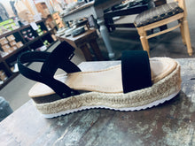 Load image into Gallery viewer, Black Espadrille Sandal Flatform