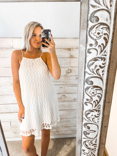 BNB Off White Lace High Neck Dress