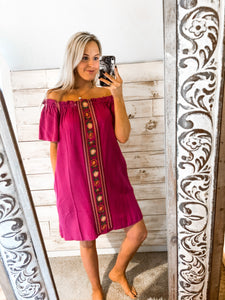 Magneta Davi/Dani Off Shoulder Dress