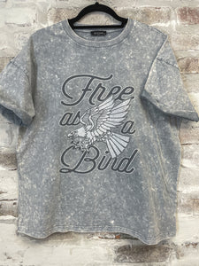 Free As A Bird Denim Acid Wash Graphic Tee