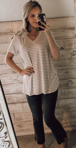 Mud Pie Dani Classic Buttersoft VNeck Gray Stripe