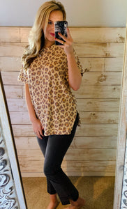 First Love Crew Neck Leopard Top