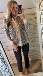 Cherish Snake Henley Top