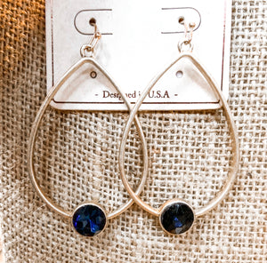 SL Navy Stone Earrings
