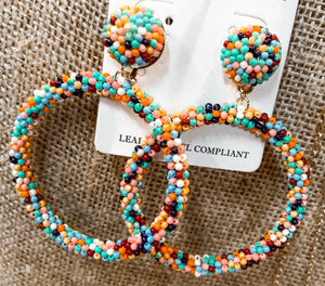 SL Multicolor Bead Hoop Earrings