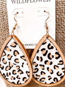 SL Print Teardrop Wood Finish Earrings